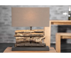 Dizajnová stolná lampa z naplaveného dreva
