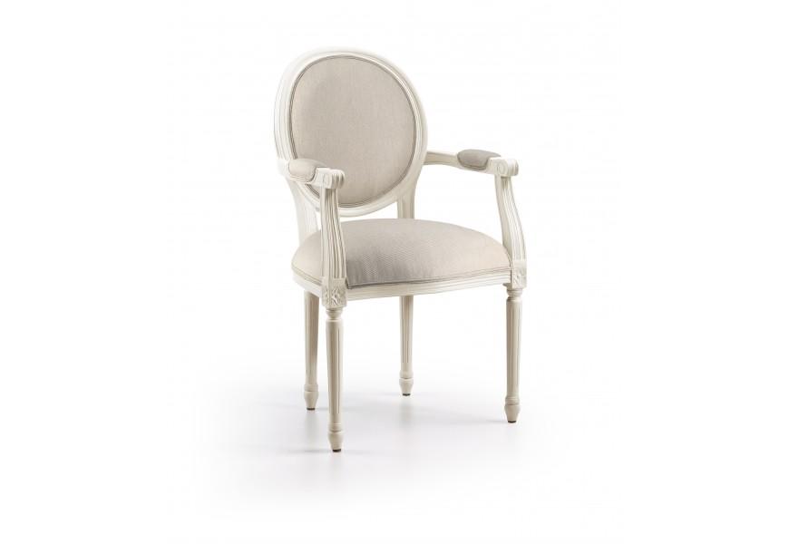 Masívna jedálenská stolička M-Vintage z masívu v bielej farbe 102cm