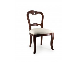 Koloniálna jedálenská stolička M-VINTAGE z masívneho mahagónového dreva s béžovým čalúnením 93cm