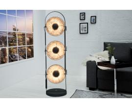 Dizajnová stojaca lampa Studio čierno-strieborná