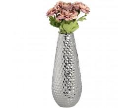 """Strieborná zaoblená keramická váza """"dimple effect"""" veľká"""