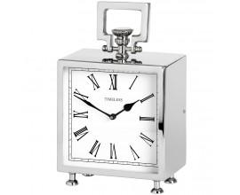 Štýlové strieborné stolové hodiny - chrómové hranaté