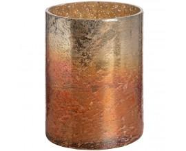 Medený metalický sklenený svietnik medium