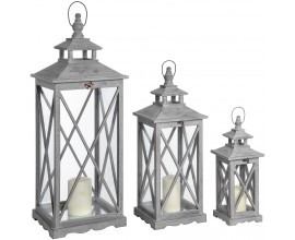 Dizajnový set troch drevených lampášov