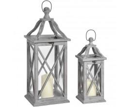 Set dvoch šedých drevených lampášov