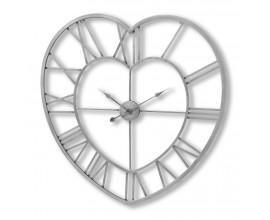 Strieborné kovové hodiny v tvare srdca