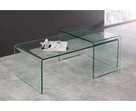 Set moderných sklenených príručných stolíkov GHOST (2ks)
