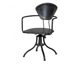 Dizajnová industriálna kovová čierna kancelárska stolička Dallas