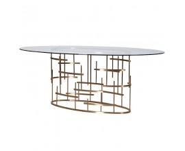 Dizajnový oválny Art-Deco jedálenský stôl