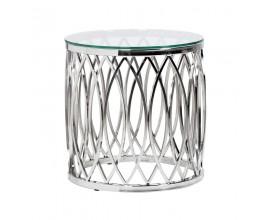 Dizajnový Art-Deco príručný stolík z nerezovej ocele
