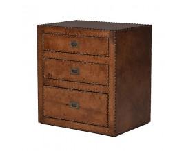 Luxusný príručný stolík z pravej kože s vybíjanými detailmi