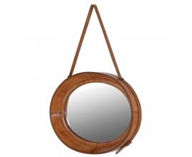 Štýlové koloniálne závesné zrkadlo s koženým rámom MERIDA