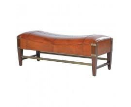 Luxusná lavica z pravej kože Pellia hnedej farby