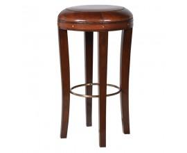 Koloniálna barová stolička Eldry s koženým sedadlom 42cm