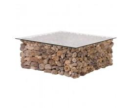 Dizajnový konferenčný stolík Driftwood so sklom