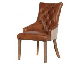 Kožená jedálenská CHESTERFIELD stolička 98cm