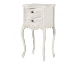 Štýlový provensálsky nočný stolík Antic Blanc so zásuvkami 74cm