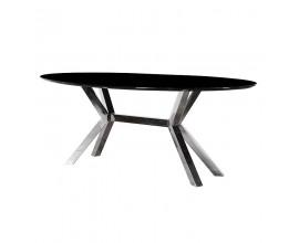 Dizajnový oválny čierny jedálenský stôl Decour