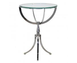 Exkluzívny sklenený nerezový okrúhly príručný stolík 64cm