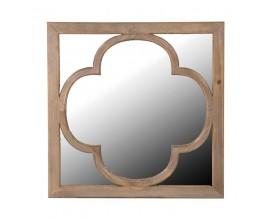 Vidiecke nástenné štvorcové zrkadlo s rámom z masívneho dreva