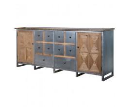 Industriálny príborník so zásuvkami z kovu a dreva 218cm