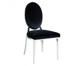 Jedinečná jedálenská stolička Piera III čierny zamat