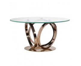 Dizajnový okrúhly jedálenský stôl Chinensis - rose gold