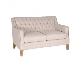 Luxusná chesterfield dvoj sedačka Gresham 136cm s béžovým poťahom