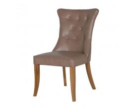 Chesterfield luxusná jedálenská stolička Ruelle s bronzovým klopadlom a masívnymi nohami 94cm