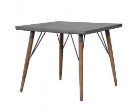 Industriálny štvorcový jedálenský stôl Ontario II s nohami z masívu 90cm
