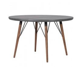 Industriálny masívny okrúhly jedálenský stôl Ontario III 120cm