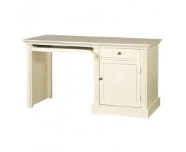 Dizajnový biely provensálsky písací stôl Riva Crema 140cm s výsuvnou doskou