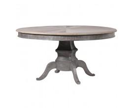 Masívny okrúhly jedálenský stôl Bradenton z brestového dreva v sivej farby s vyrezávanými nohami 150cm
