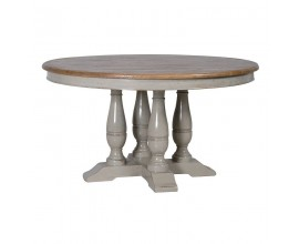 Masívny okrúhly jedálenský stôl vo vidieckom štýle Country