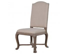 Vidiecka nadčasová béžová jedálenská stolička Fontanilla  s ľanovým poťahom a masívnymi nohami107cm
