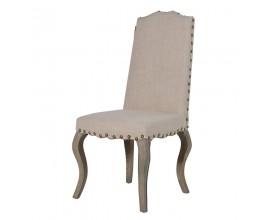 Dizajnová vidiecka jedálenská stolička Frontera s béžovým ľanovým poťahom a drevenými nohami 108cm
