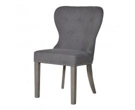 Dizajnová vintage jedálenská stolička Herrera s masívnymi nohami a sivým poťahom 92cm