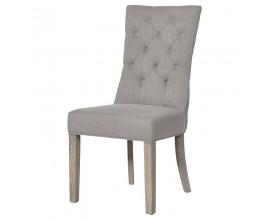 Chesterfield luxusná béžová jedálenská stolička Navalpino s masívnymi dubovými nohami  103cm