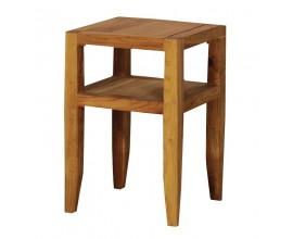 Vidiecky dizajnový hnedý štvorcový príručný stolík Estrella z dubového dreva 60cm