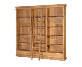 Vidiecka veľká knižnica Estrella z dubového dreva s rebríkom 249cm
