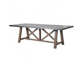 Dizajnový dlhý industriálny jedálenský stôl Solana s masívnymi nohami240cm