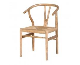 Vidiecka drevená jedálenská stolička Hesien s vypletaným sedákom v prírodných farbách 81cm