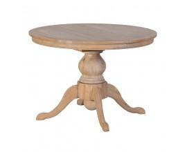 Okrúhly jedálenský stôl Chene Vieux z masívu rozkladací 110-170cm svetlohnedej farby