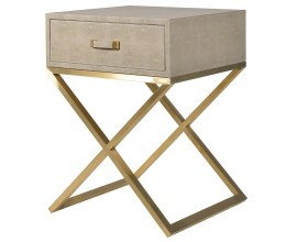 Art-deco béžový nočný stolík Faux Shagreen 50 cm