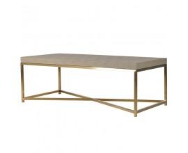 Art-deco béžový konferenčný stolík Faux Shagreen 120 cm
