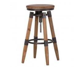 Industriálna drevená barová stolička Dofle s nastaviteľným kruhovým sedadlom 69cm