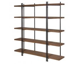 Industriálna drevená knižnica Wortigo s kovovou konštrukciou a piatimi policami 189cm
