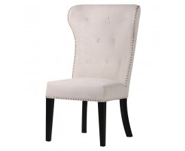 Luxusná Chesterfield jedálenská krémová stolička Jops so strieborným klopadlom 106cm