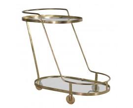 Art-deco oválny príručný stolík Heder na kolieskach so zlatou konštrukciou a sklenenou doskou 77cm