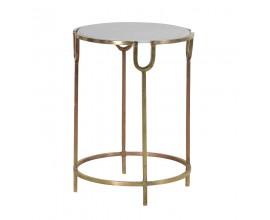 Art-deco príručný stolík Melis so zlatými nohami a kruhovou doskou z kameňa 45cm